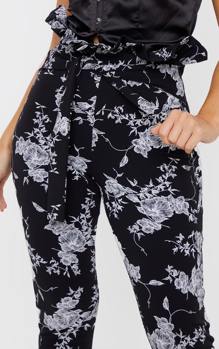 Black Floral Paperbag Skinny Pants  5