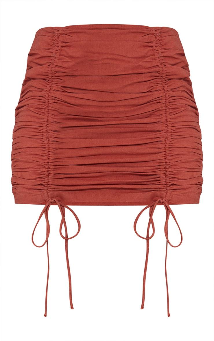 Burnt Orange Linen Look Ruched Detailing Mini Skirt 6