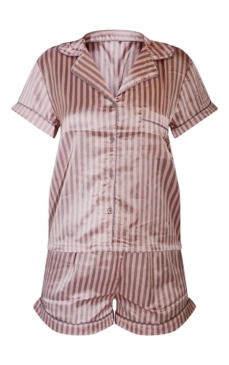 Pink And Grey Stripe Satin Short PJ Set 5