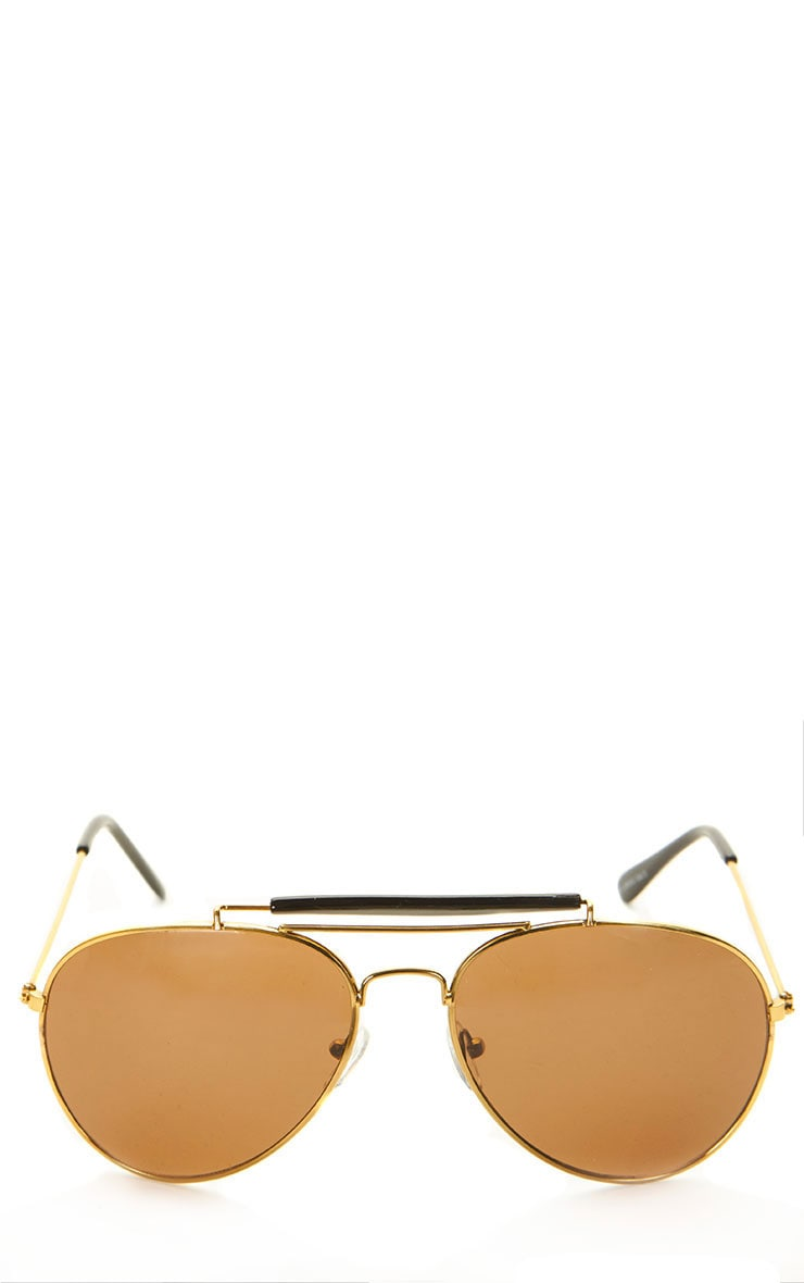 Lila Gold Frame Black Bar Aviators 3