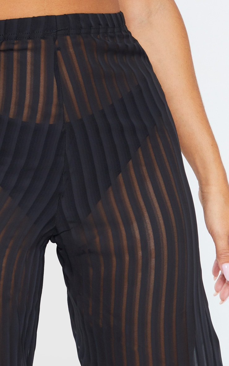 Black Sheer Stripe Wide Leg Beach Trouser 5