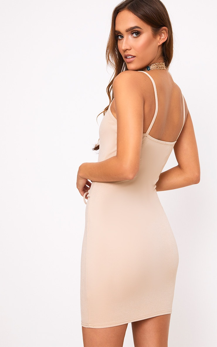 Nude Strappy V Plunge Corset Detail Bodycon Dress 2