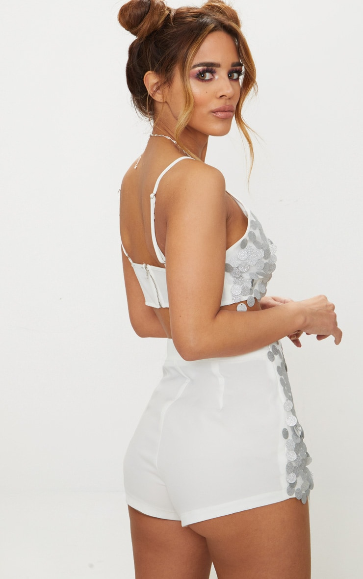 Petite Silver Strappy Sequin Disc Crop Top 2