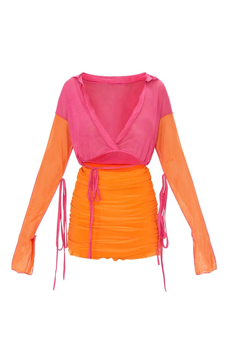 Hot Pink Mesh Contrast Multi Tie Long Sleeve Plunge Crop Top 5