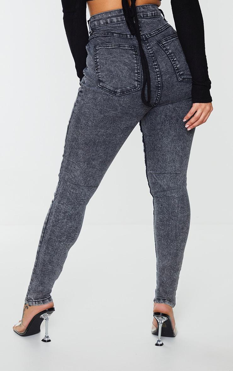 Shape Black Acid Wash High Waist Super Stretch Skinny Jeans 3