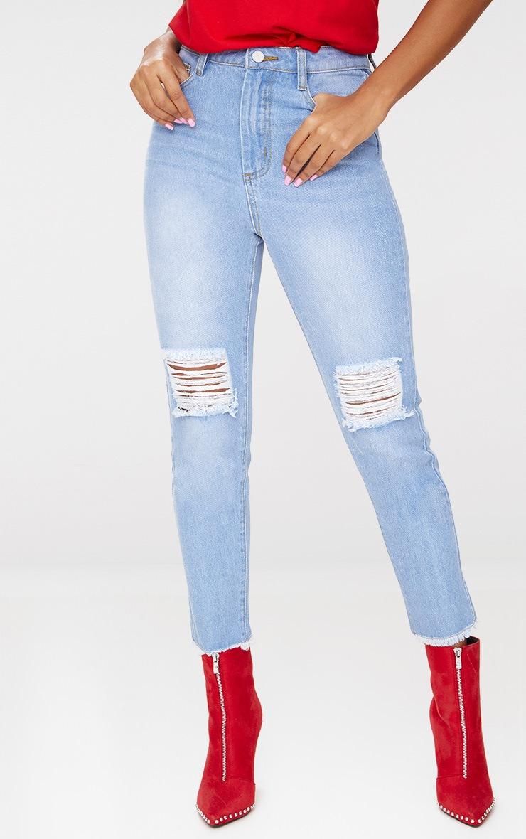 Light Wash Zip Back Jeans 2