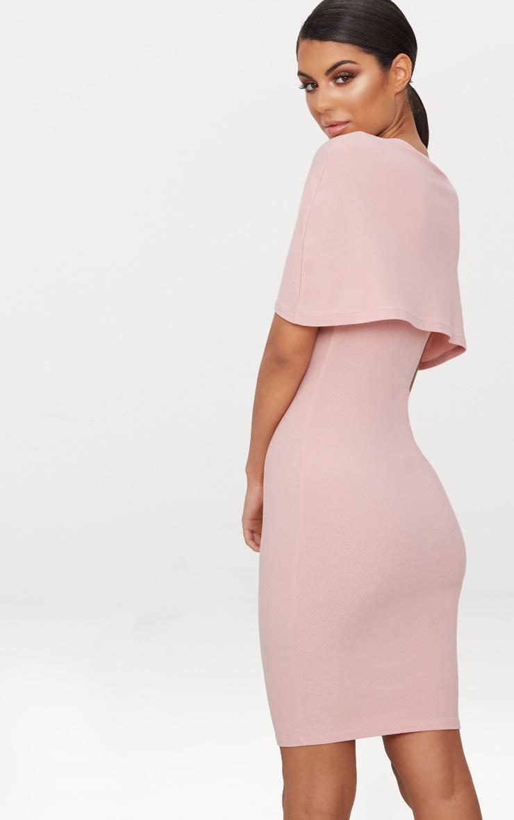 Dusty Pink Cape Detail Midi Dress 2