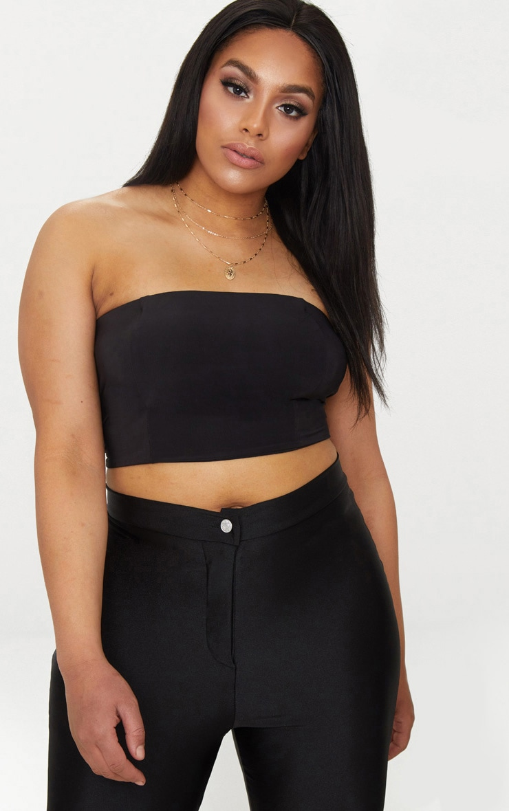 Plus Second Skin Black Slinky Bandeau Crop Top 1