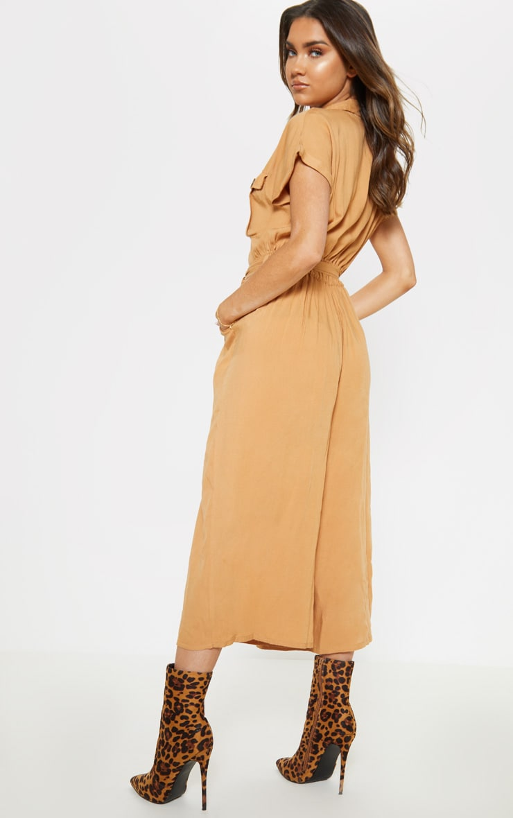 Camel Tortoise Shell Button Pocket Detail Culotte Jumpsuit 2