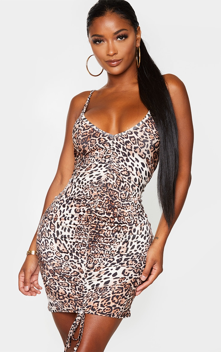 Shape Brown Leopard Print Slinky Ruched Front Strappy Bodycon Dress 1