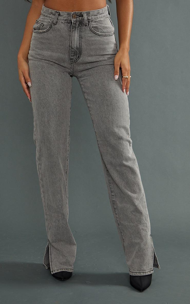 Jean droit gris délavé à ourlet fendu 2