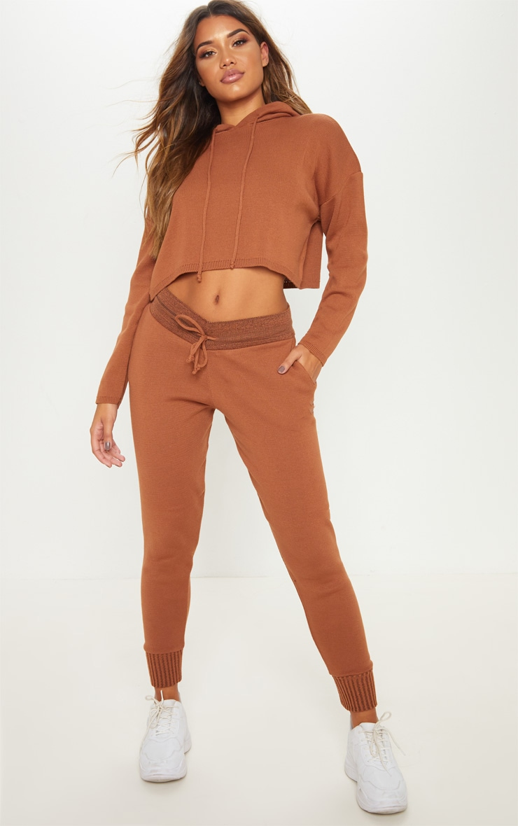 Rust Cropped Hooded Knitted Lounge Set 4