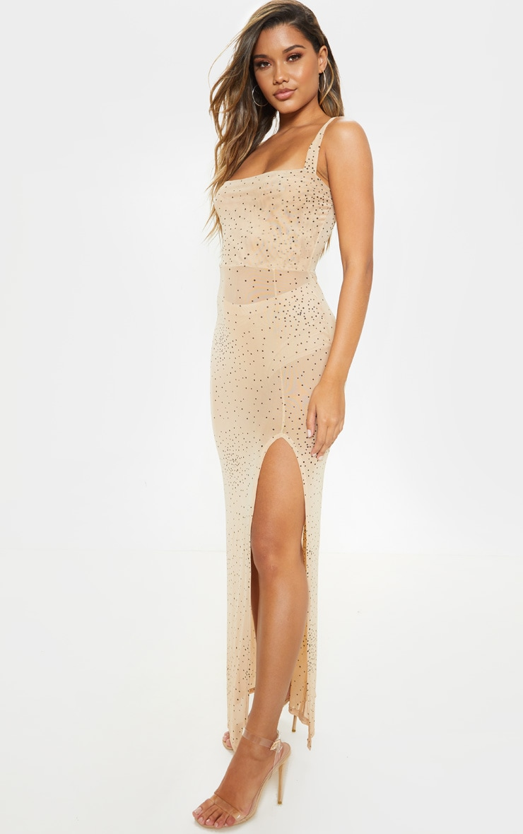 Beige Polka Dot Sheer Mesh Strappy Split Maxi Dress 4
