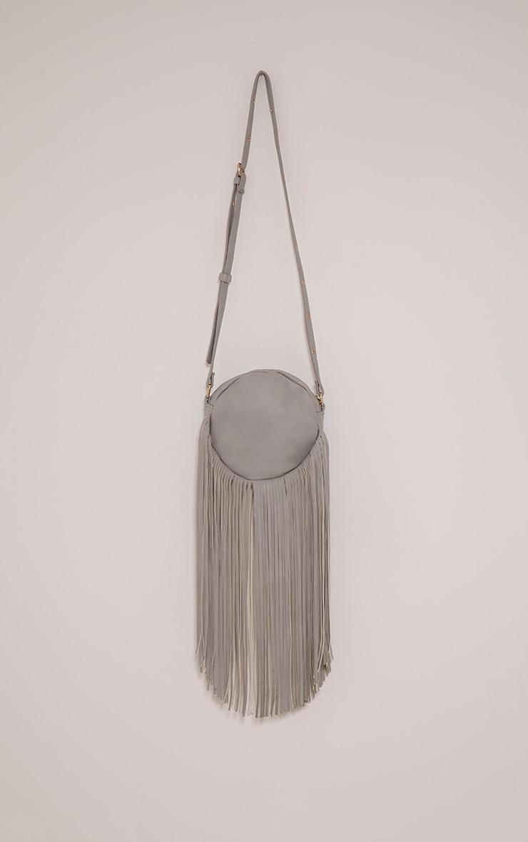 Toyah Grey Faux Leather Circle Fringe Shoulder Bag 3