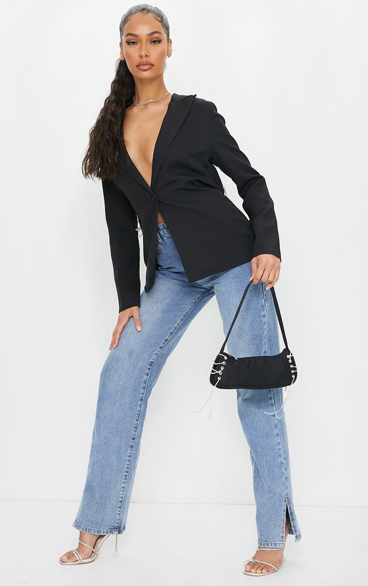 Black Woven Fitted Blazer Diamante Trim Open Back Blazer 3