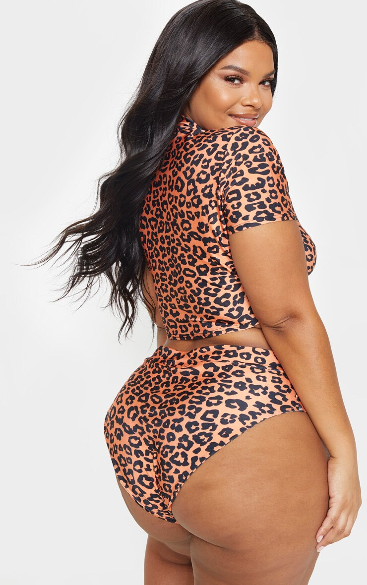 Plus Neon Orange Leopard Print Zip Collar Short Sleeve Bikini Top 2