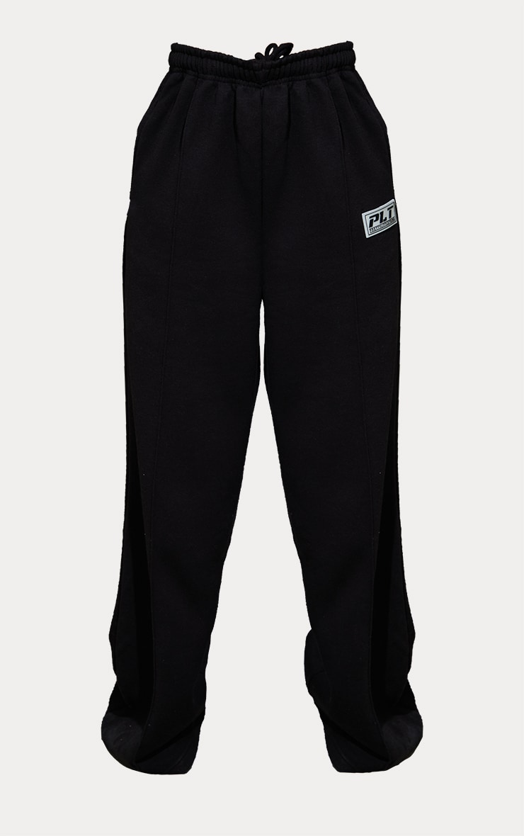 PRETTYLITTLETHING Black Badge Detail Seam Front Extreme Wide Leg Joggers 5