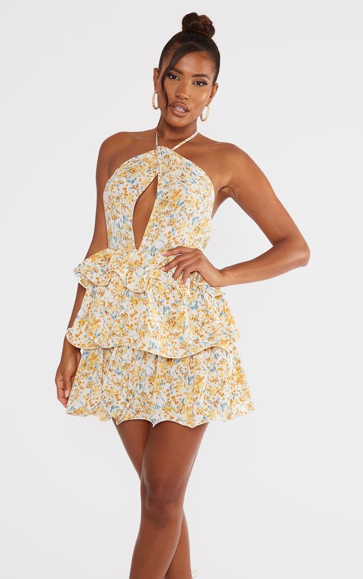 Yellow Printed Tiered Skirt Halterneck Skater Dress 3