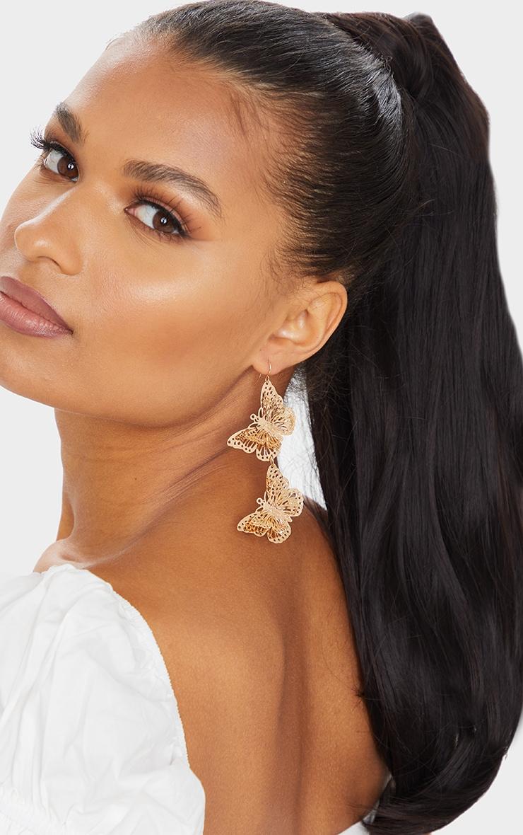 Gold Butterfly Drop Earrings 1