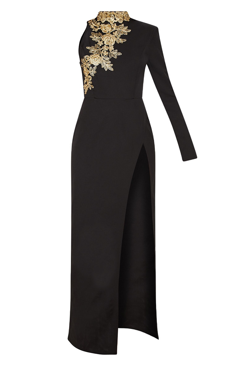 Black High Neck Asymmetric Embroidered Trim Maxi Dress 3