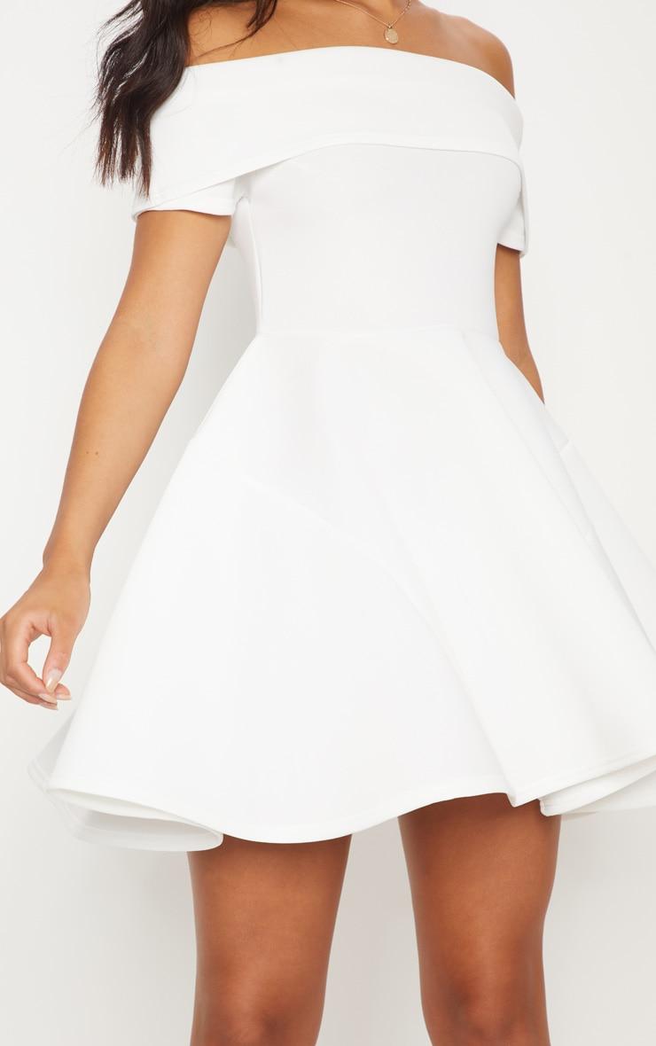 White Bonded Scuba Bardot Skater Dress 5