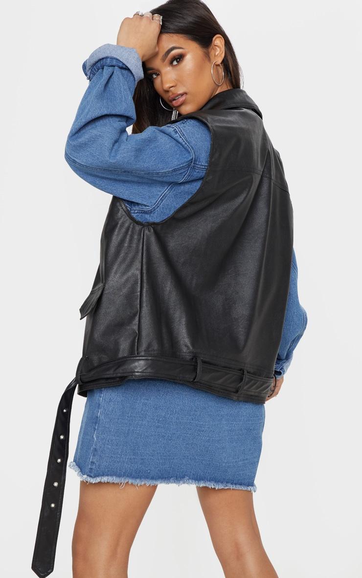 Black PU Sleeveless Biker 3