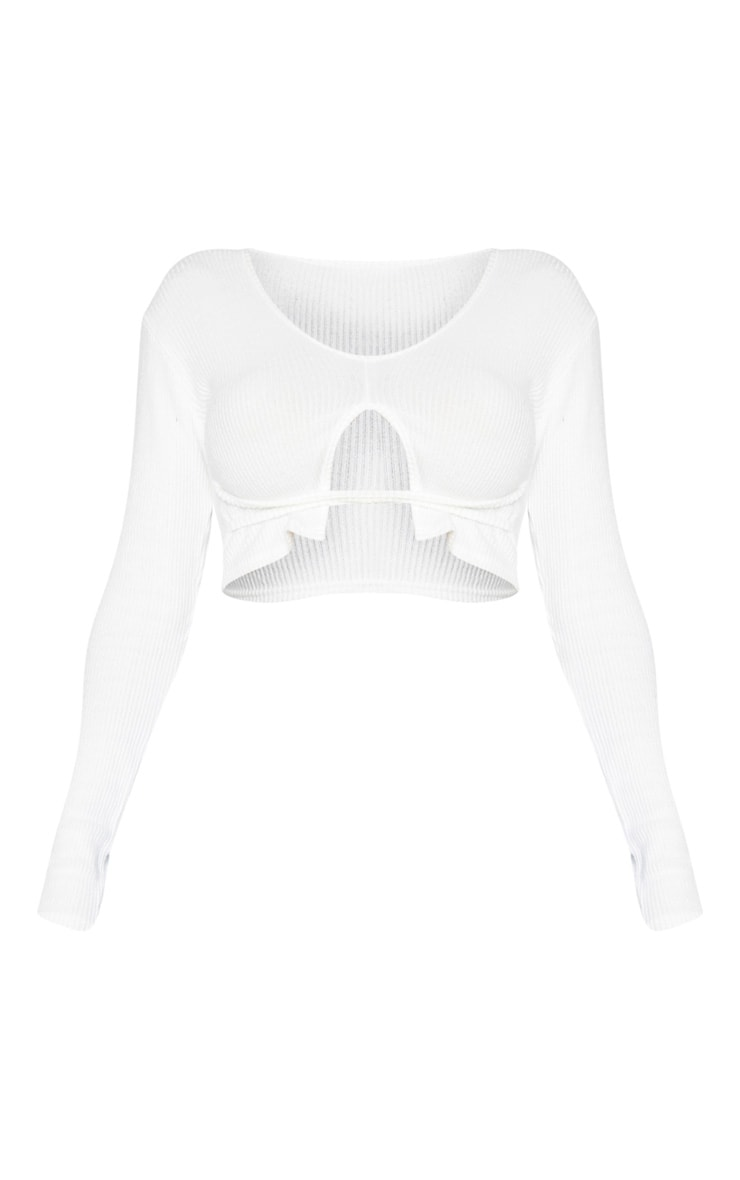 Shape Cream Brushed Rib Strap Detail Crop Top 5