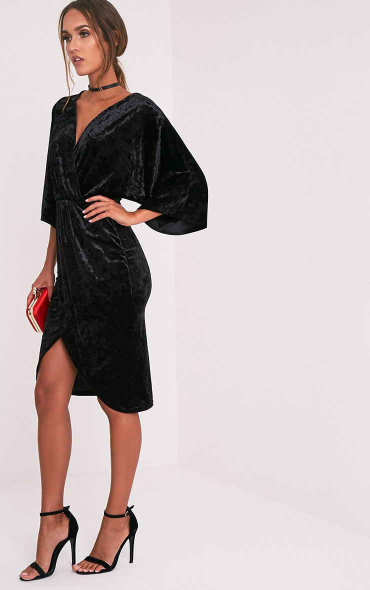 Archer Black Velvet Cape Midi Dress Dresses