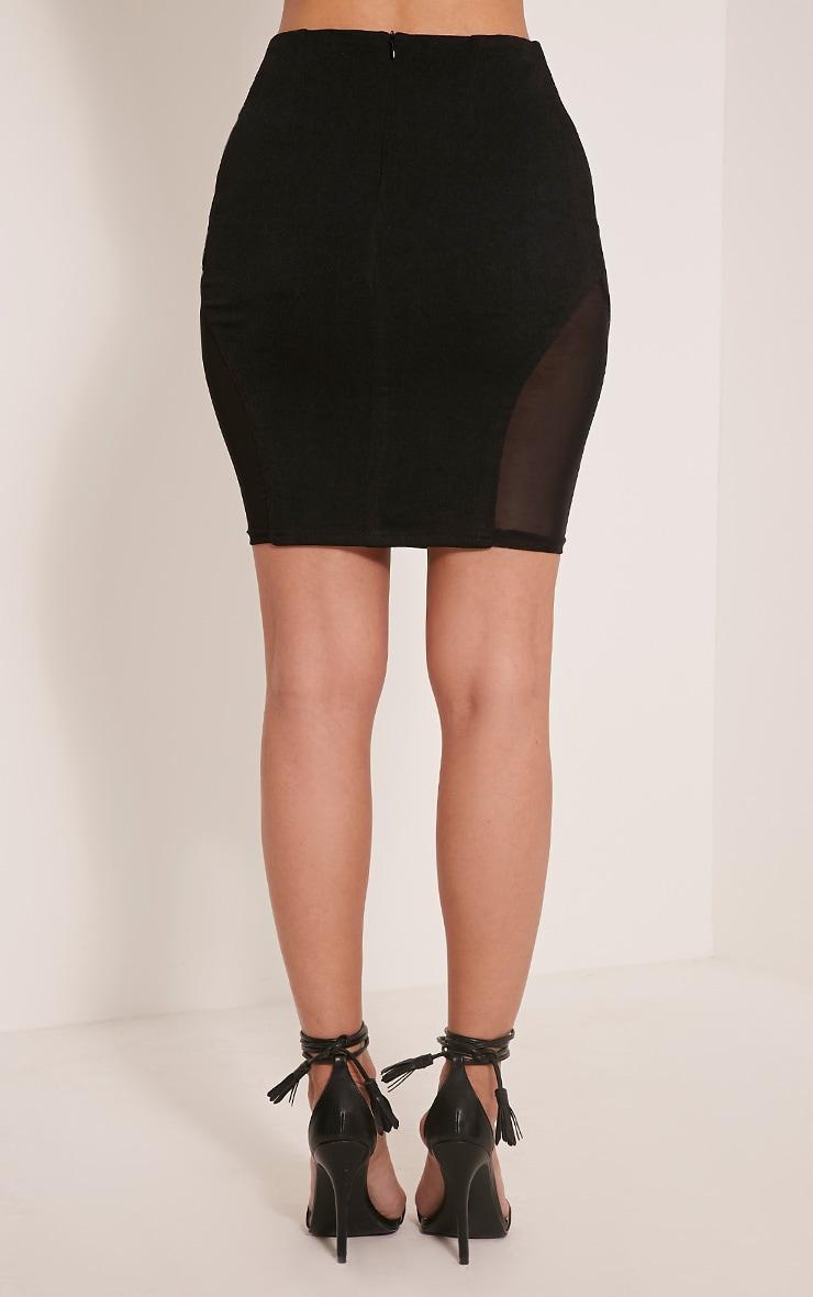 Cleo Black Mesh Insert Mini Skirt 5