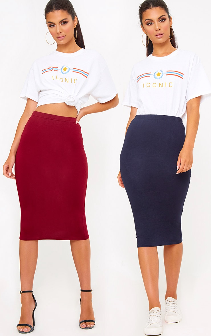 Basic Burgundy & Navy Jersey Midi Skirt 2 Pack 1