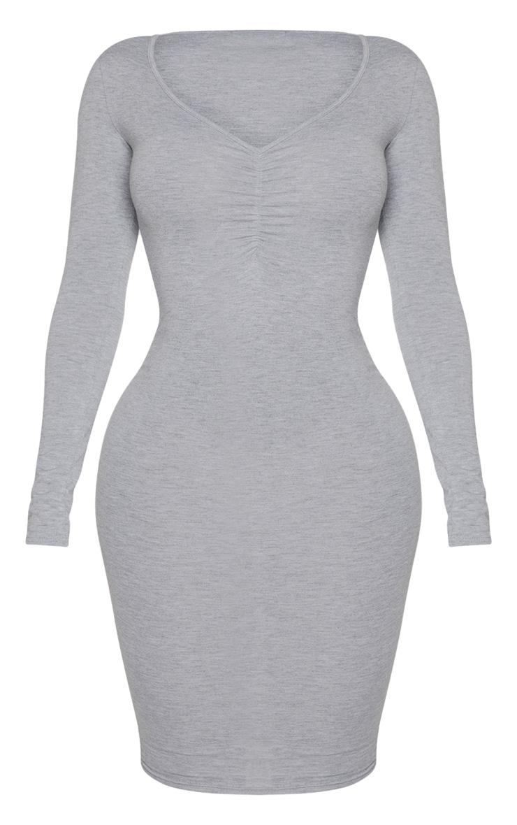 Shape - Robe mi-longue en jersey gris à buste froncé 3