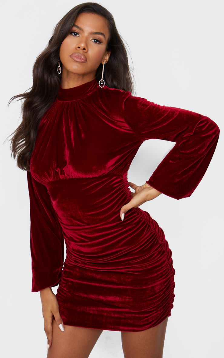 Burgundy Velvet High Neck Ruched Balloon Sleeve Bodycon Dress 1
