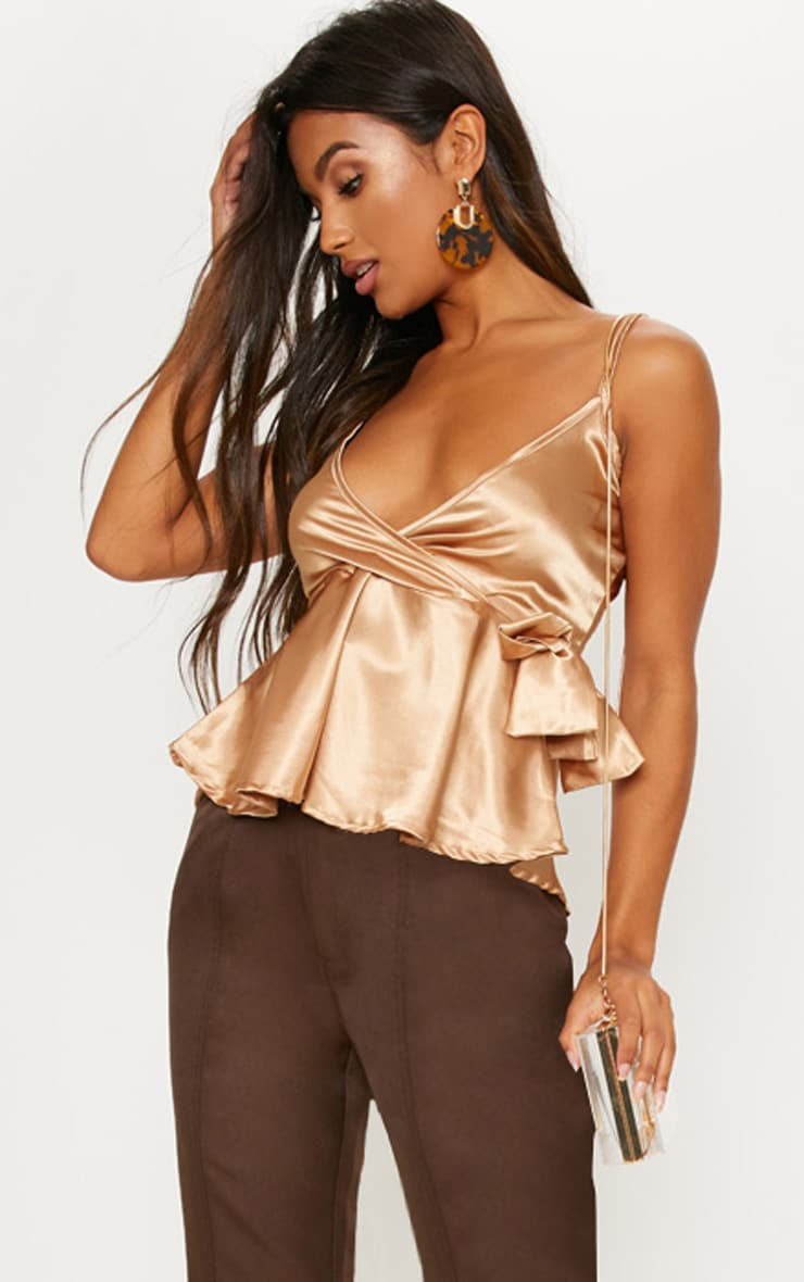 Gold Satin Tie Side Cami  1