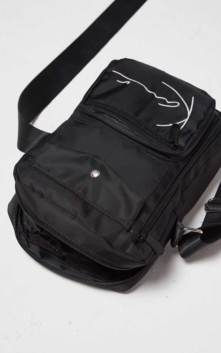 KARL KANI Black Zip Pocket Detail Shoulder Bag 4