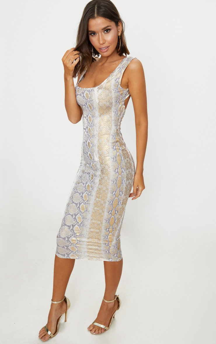 Gold Snake Print Scoop Neck Midaxi Dress 4