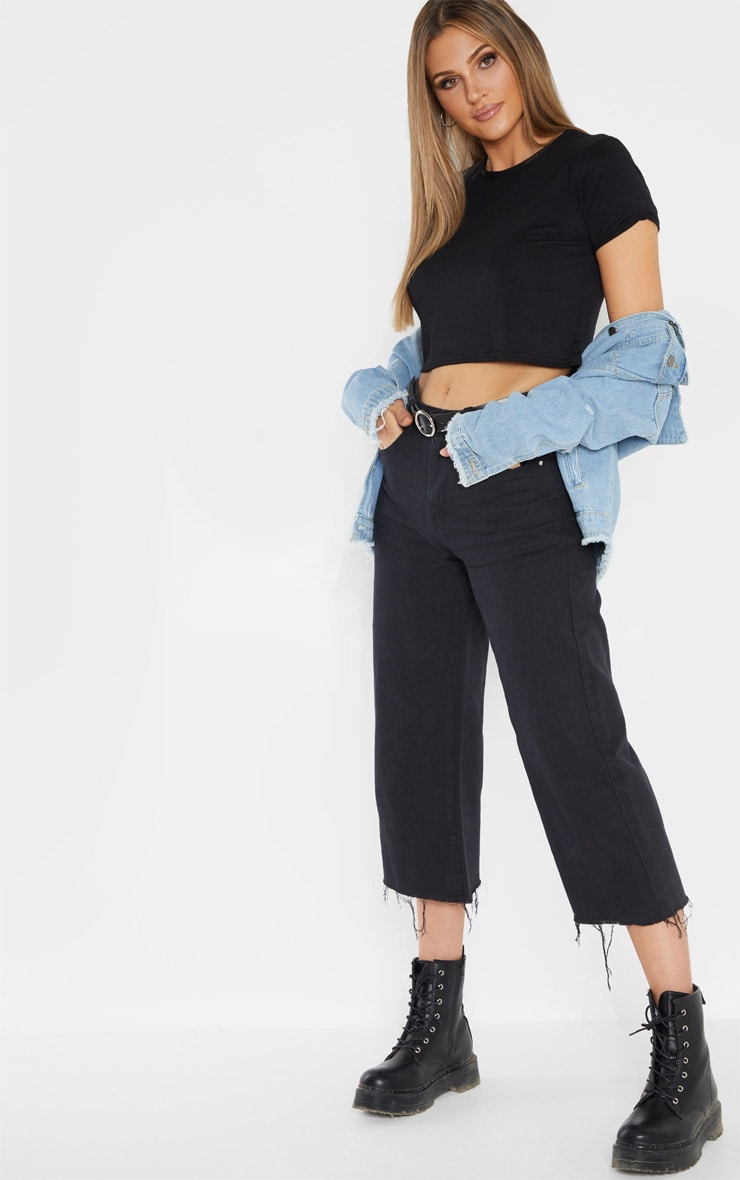 Tall Black Basic Roll Sleeve Crop T Shirt  4
