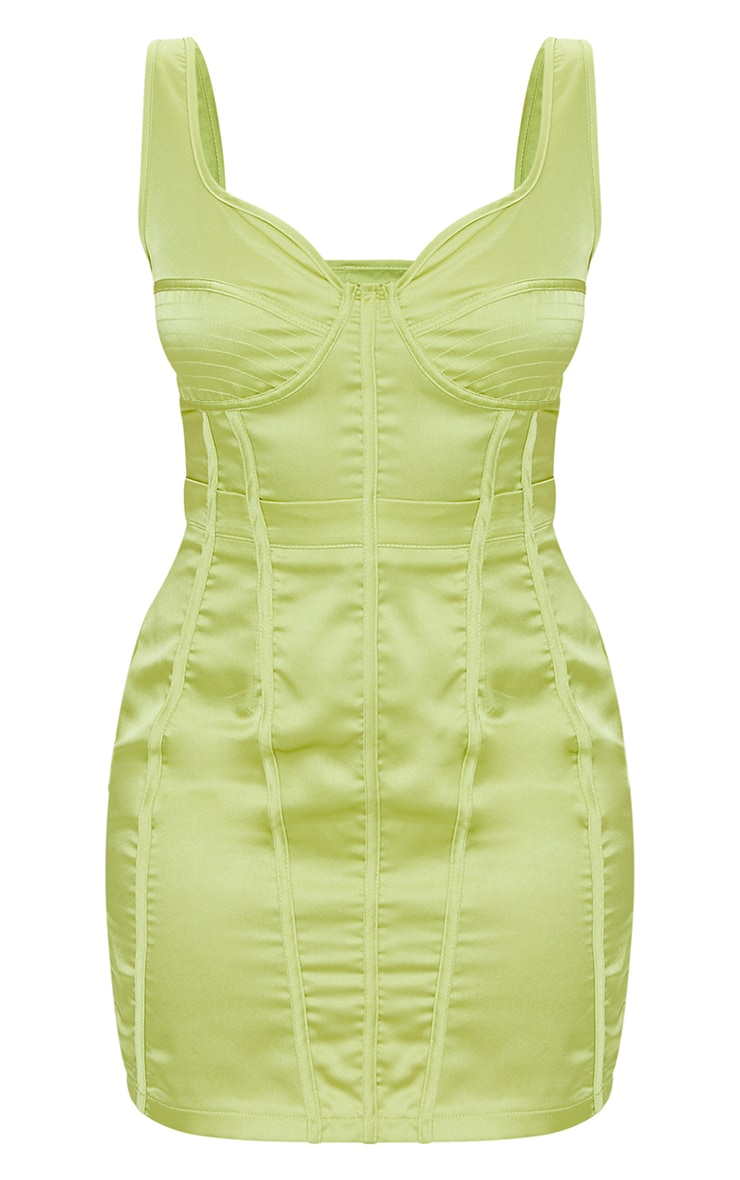 Petite Chartreuse Satin Corset Detail Bodycon Dress 5