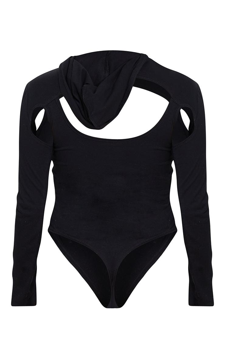 Shape Black Cotton Cut Out Long Sleeve Hooded Bodysuit 6