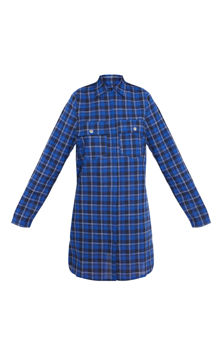 Blue Oversized Check Shirt Dress  3