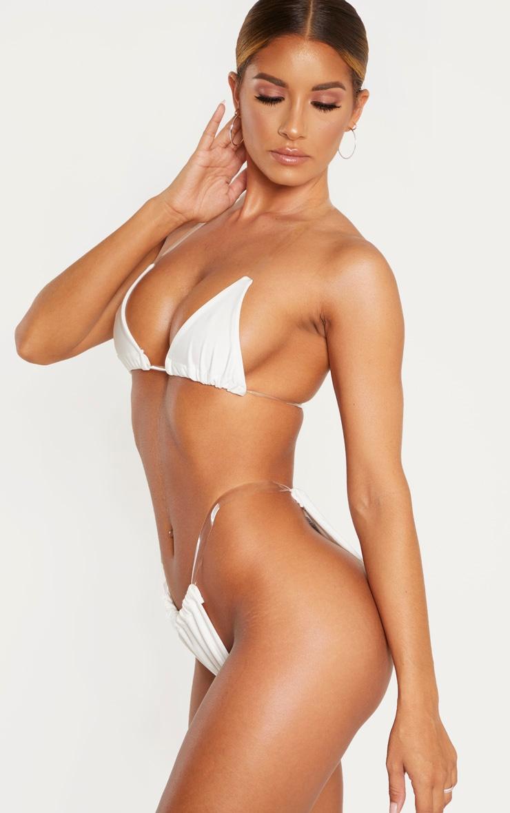White Clear Strap Bikini Bottom 2
