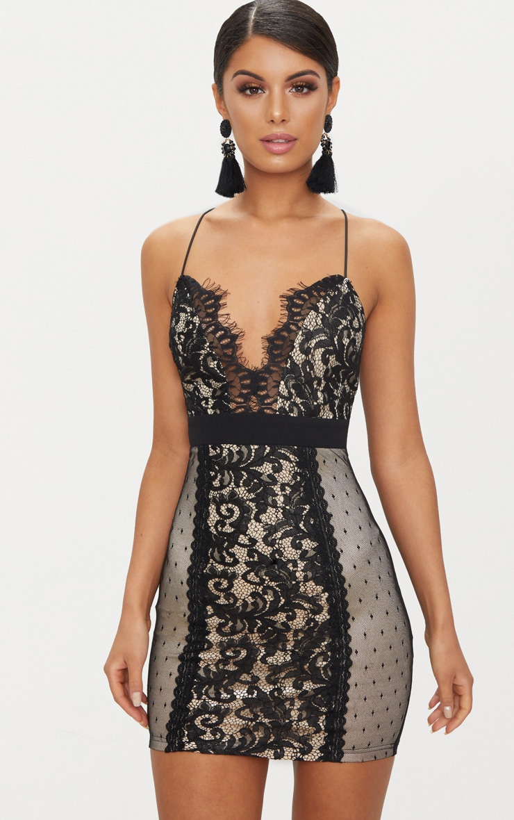 Black Lace Panel Plunge Bodycon Dress 1