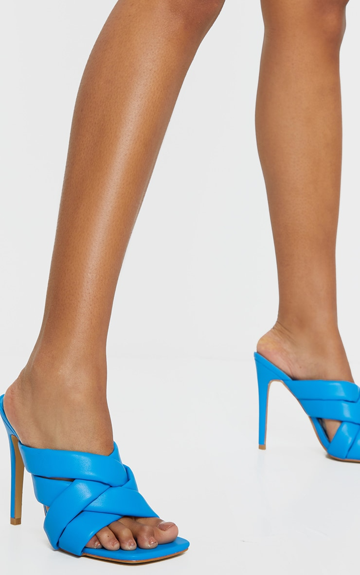 Blue Quilted Woven Strap High Mule Heels 1
