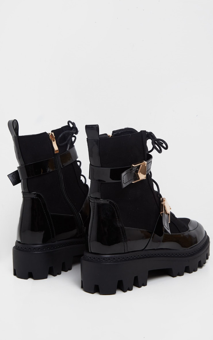Black Buckle Detailed Lace Up Cleated Ankle Boot 4