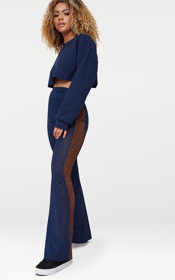 Navy Metallic Contrast Panel Sheer Flared Trousers 1