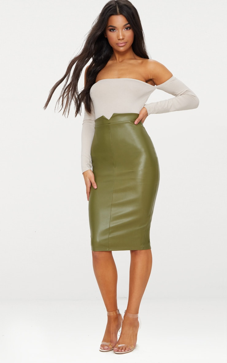 Khaki Faux Leather Panel Midi Skirt  1