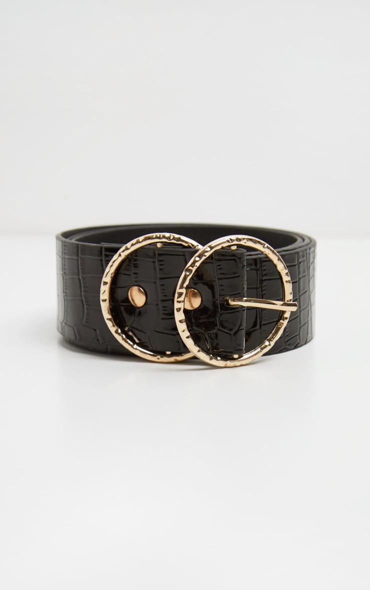 Black Patent Croc Round Buckle Belt 2