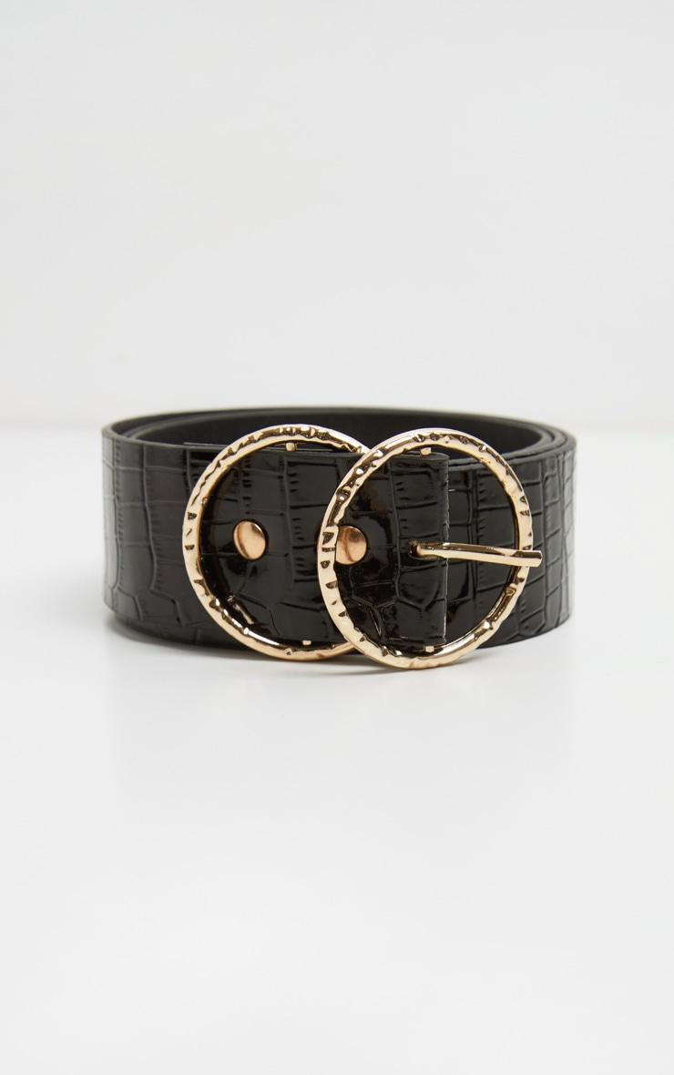 Black Patent Croc Round Buckle Belt 3