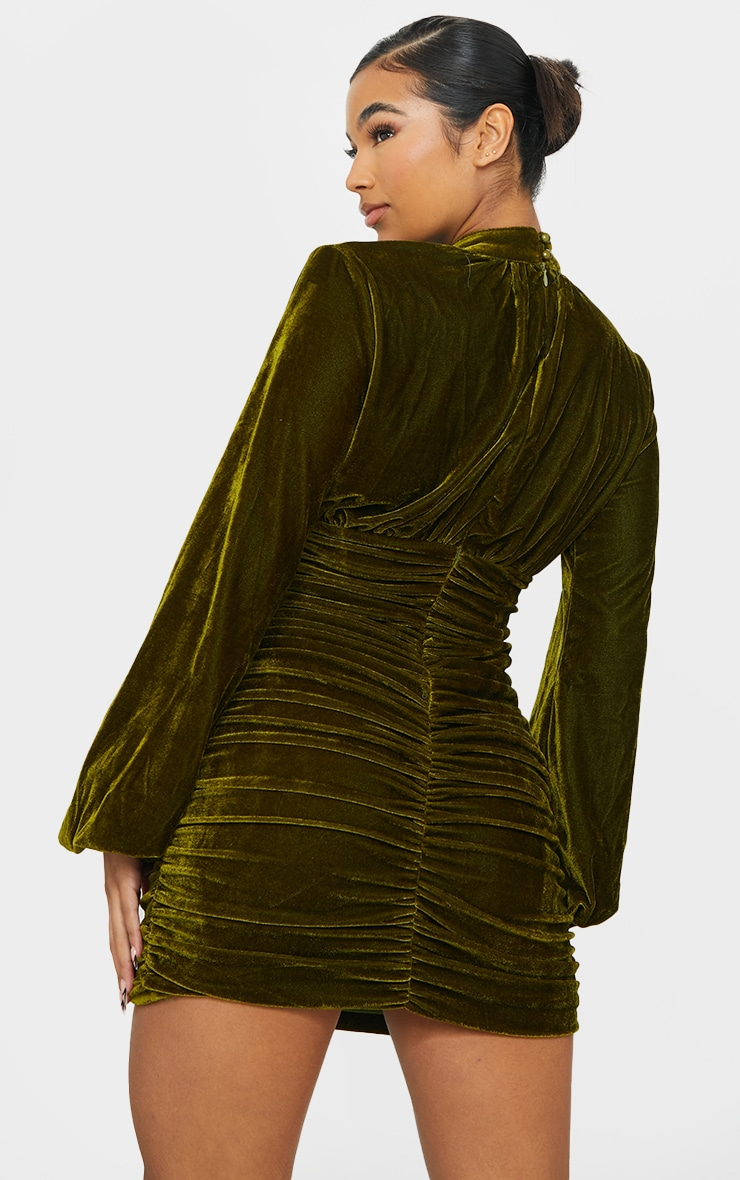 Olive Velvet High Neck Ruched Balloon Sleeve Bodycon Dress 2