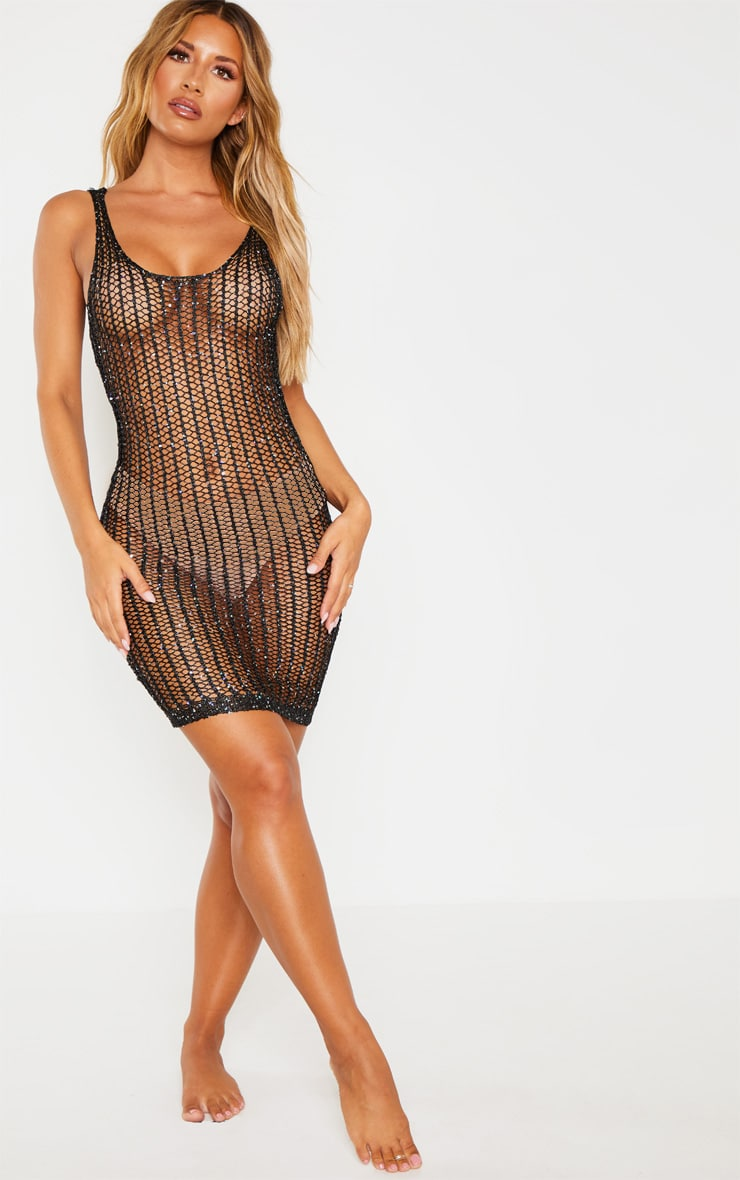 Black Metallic Sequin Detail Knitted Dress  4