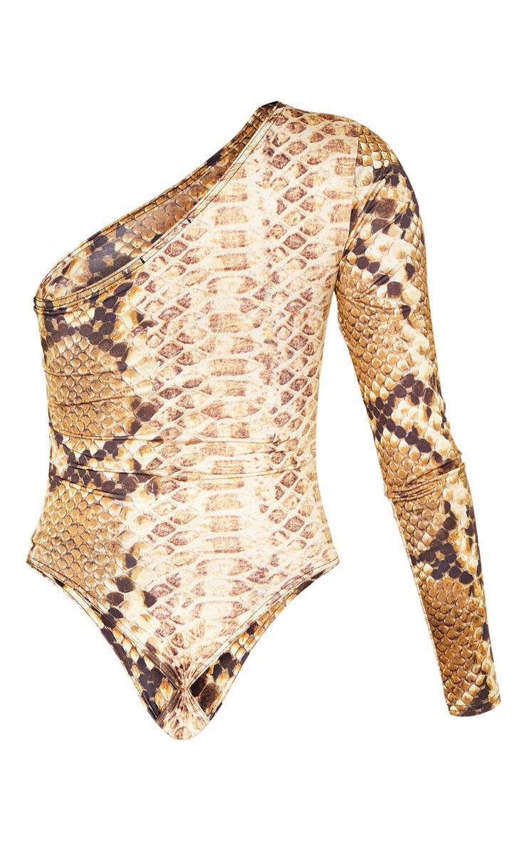 Stone Snake Printed One Shoulder Bodysuit 4